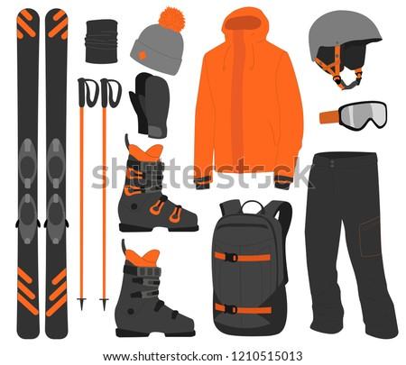 ski equipment kit clothes