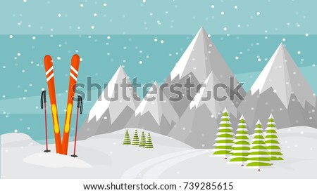 Ski equipment, trail, Alps, fir trees, falling snow, mountains panoramic background, flat vector illustration. Ski resort season is open. Winter web banner design.
