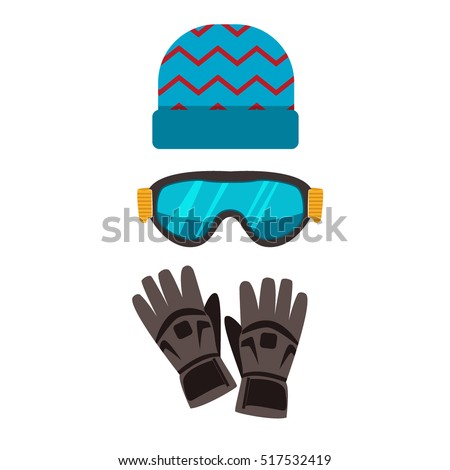Ski gloves, hat, goggles cartoon vector. Ski glasses or ski goggles skiing protective winter gloves. Winter ski gloves and ski glasses skiing accessory. Skiing hand gloves safety clothing equipment.