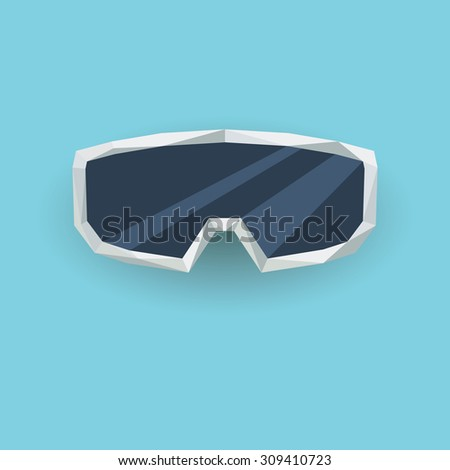 ski goggles low poly 3d vector