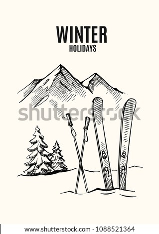Ski in snow, mountains in winter season. Vector hand drawn