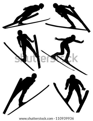 ski jumping silhouette on white