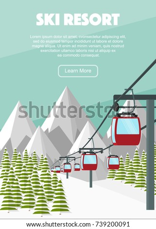 Ski lift cable car, Alps, fir trees, falling snow, mountains panoramic background, flat vector illustration. Ski resort season is open. Winter web banner design.