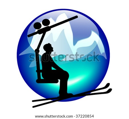 ski lift sign or button for web or print