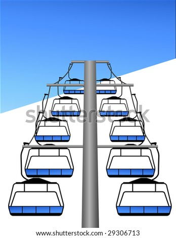 Ski lift, vector illustration, EPS file included