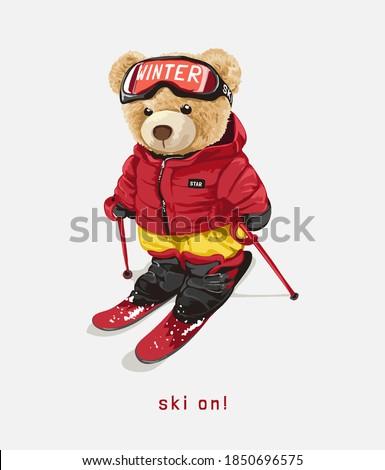 ski on  with bear doll on ski costume illustration
