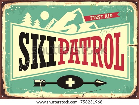 Ski patrol retro sign design with mountain shape and ski patrol text. Winter sports poster template.