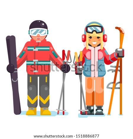 Ski recreation skier vacation skiing isolated design characters flat vector illustration