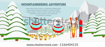 ski resort banner flat vector