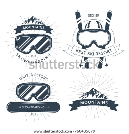 Ski resort emblem and labels with goggles, mountains - winter sports
