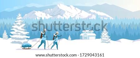 ski resort holiday flat color
