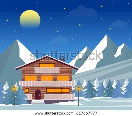 ski resort  hotel or winter