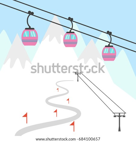 Ski resort icon. Design for tourist catalog, maps of the ski slopes, placard, brochure, flyer, booklet etc. Vector illustration.