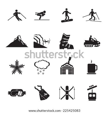 ski resort icons set