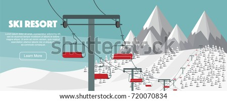 Ski resort, lift flat vector illustration. Alps, fir trees, mountains wide panoramic background. Ski hills, winter web banner design.