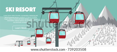 ski resort  lift flat vector