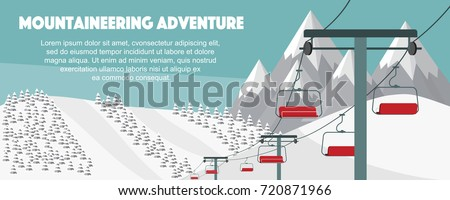 Ski resort, mountaineering adventure flat vector illustration. Swiss Alps, fir trees, snow hills winter background. Ski hills panoramic background, winter leisure activities.