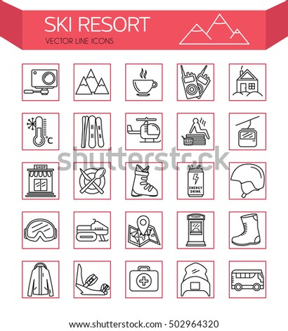 Ski resort outline  icon collection. Ski resort vector set of Ski and Snowboard icons. Elements Ski resort. Winter holidays in the mountains. Welcome to the ski resort / Ski resort icons.