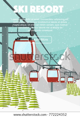 ski resort  red cabin lift