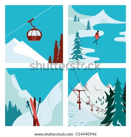 ski resort ski lift in the