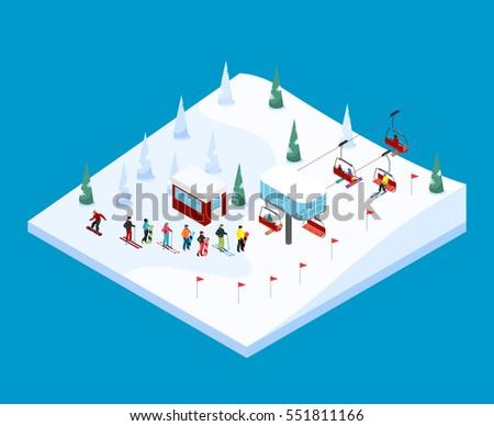 ski resort tiled isometric