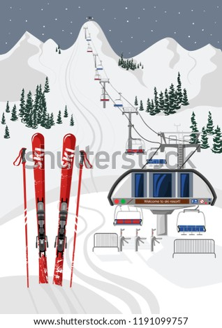 ski resort vacation with ski