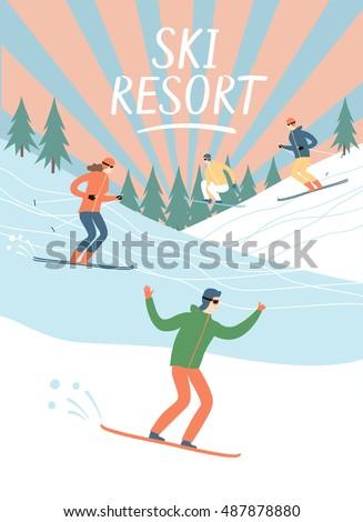 ski resort vintage poster....