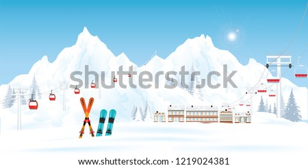 ski resort with cable cars or