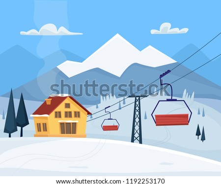 ski resort with lift  house and