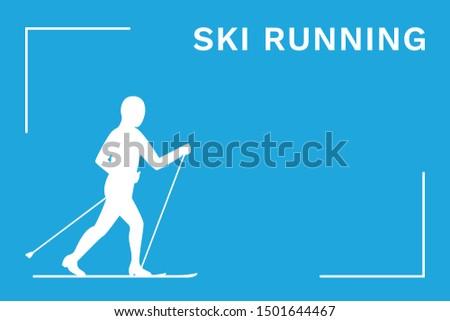 Ski running. Cross-country skiing. Vector illustration.