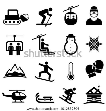 Ski, snow, winter sports and leisure activity icon set