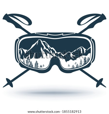 Ski, Snowboard glasses, crossed ski poles. Extreme sports logo. The reflection of the mountain slopes with glasses. Isolated on a white background. Vector illustration