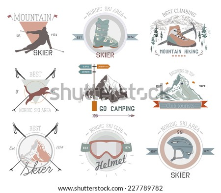 Ski sport logo icon template. Ski, skier silhouette. Ski jumping, winter sports logo template. Winter mountains, skiing, winter logos and icons. Winter sport logo icons design elements.
