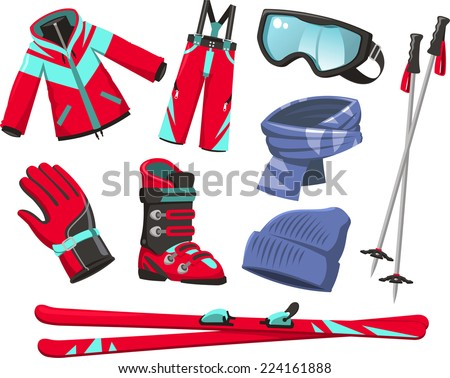 ski tools and equipment cartoon