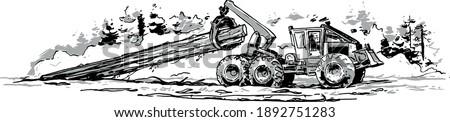 Skidder Hauling Logs. Vector illustration Stock photo ©
