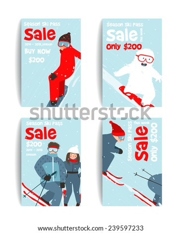 Skier and Snowboarder Fun Winter Sport Flyer Design Template. Snowboarding and skiing ski pass or sale flyer. Vector illustration.
