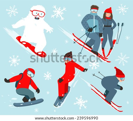 Skier and Snowboarder Winter Sport Illustration Collection. Snowboarding and skiing winter fun sport vector illustration with snowflakes.