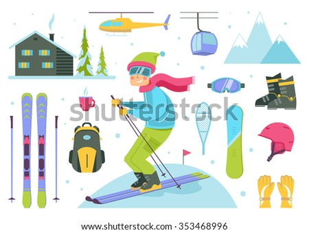 skier cartoon character cable