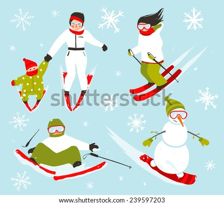 Skier Snowboarder Snowflakes Winter Sport Set. Snowboarding and skiing winter season fun sport vector.