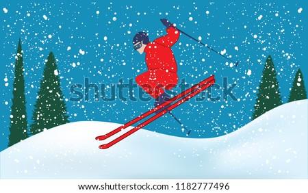 Skier, snowdrifts, fir forest, snowfall - light blue background - art vector illustration