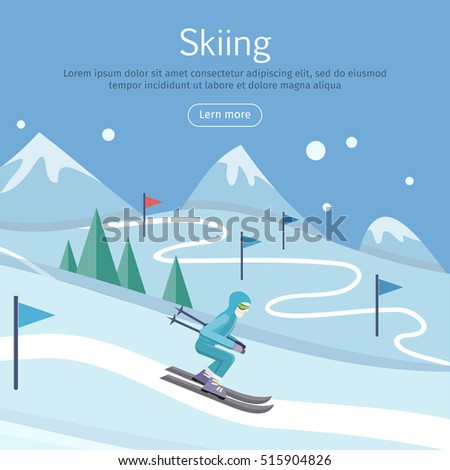 Skiing banner. Skier on snowy slope. Skiing way. Person skiing flat style. Winter season recreation winter sport activity. Slalom sport ski race. Athlete on downhill. Extreme speed skiing. Vector