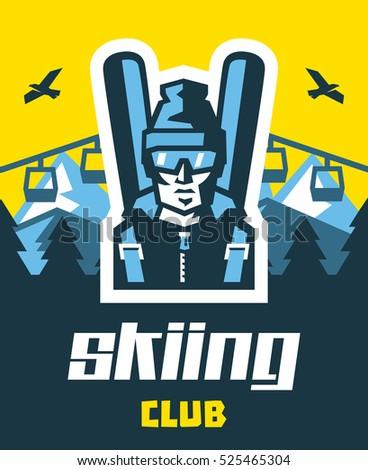skiing club logo skier in