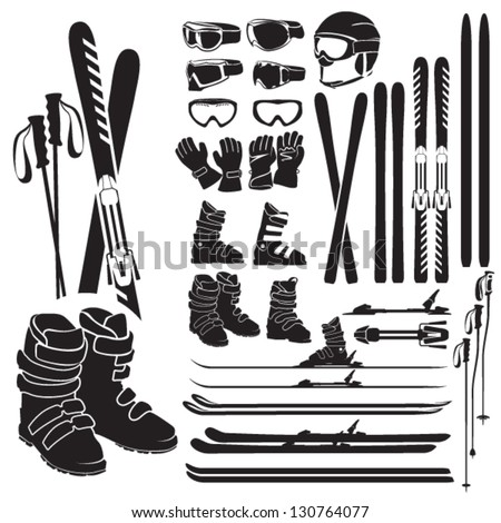 Skiing gear set - assortment of skiing eqiupment silhouette icons