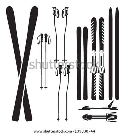 Skiing gear set - assortment of skiing equipment silhouette icons