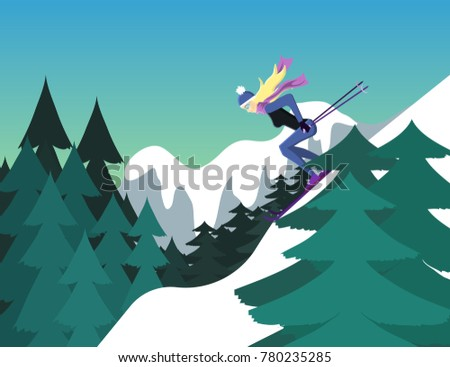 skiing illustration  person