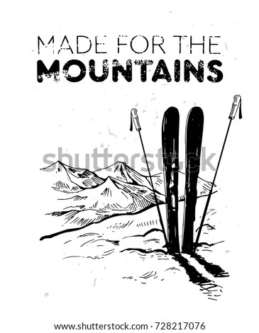 Skiing in the mountains. Hand drawn sketch converted to vector
