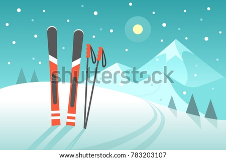 Skiing in the mountains. Vector illustration in trendy flat style with pair of skis on the snowy landscape background. Foto stock ©
