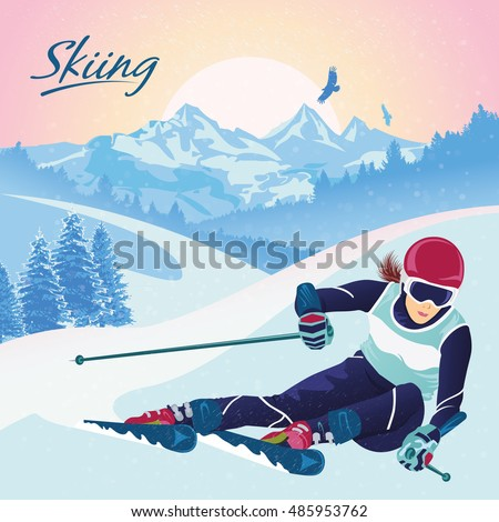 skiing in the mountains vector