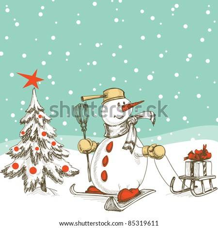 Skiing snowman with sledge, gift and Christmas tree