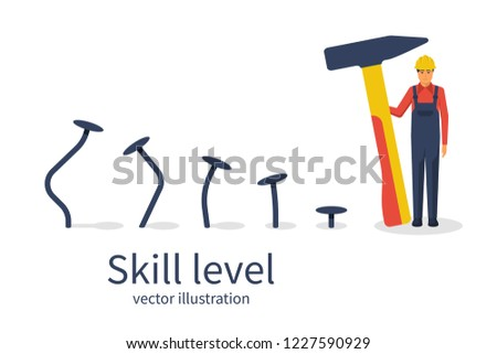 Skill level concept. Man holding a hammer in hand hammer nails, training. From beginner to skilled expert.Symbol of successful training and persistence.Vector illustration flat design.